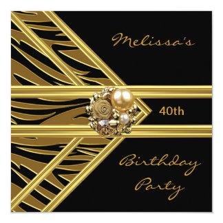 """Zebra Invitation Elegant Black Velvet gold jewel 5.25"""" Square Invitation Card"""