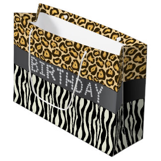 Zebra/Jaguar Diamond Birthday Gift Bag Lg