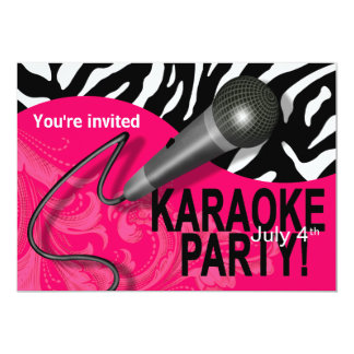 Zebra Karaoke Girls' Night Out Party Card