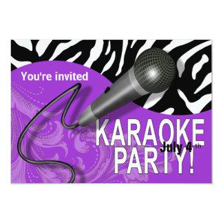 Zebra Karaoke Girls' Night Out Party Card