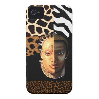Zebra Leopard Giraffe African Mask Safari collage Case-Mate iPhone 4 Case