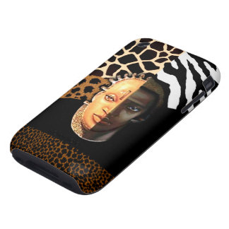 Zebra Leopard Giraffe African Mask Safari collage Tough iPhone 3 Cover