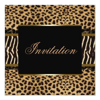 Zebra Leopard Party 13 Cm X 13 Cm Square Invitation Card