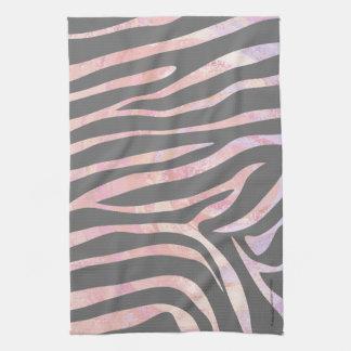 Zebra Light Gray and Pink Print Tea Towel