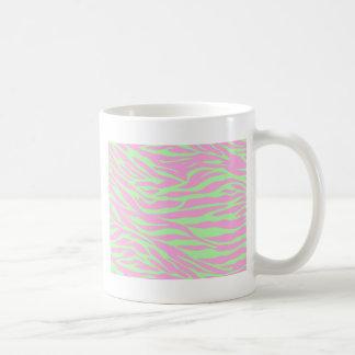 zebra, lime and pink zebra, wild animal, jungle, basic white mug