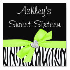 Zebra Lime Green Bow Diamond Sweet 16 Invitations