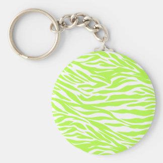 zebra, lime  zebra, wild animal, jungle, wild basic round button key ring
