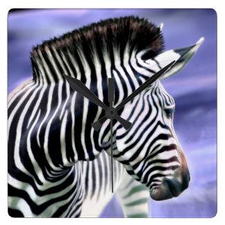 Zebra Look Square Wall Clock