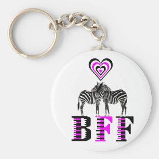 Zebra Love - BFF Basic Round Button Key Ring