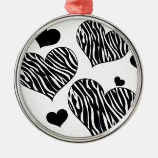Zebra Love Hearts Christmas Ornament