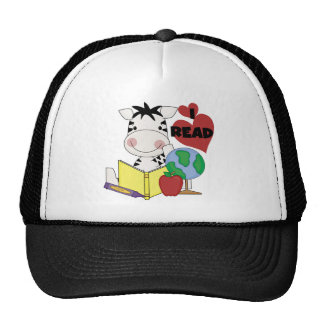 Zebra Love to Read Tshirts and Gifts Mesh Hats