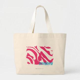 Zebra Magenta 3 Large Tote Bag