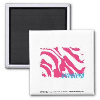 Zebra Magenta 3 Square Magnet