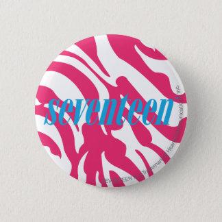 Zebra Magenta 6 Cm Round Badge