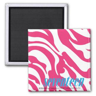 Zebra Magenta Square Magnet