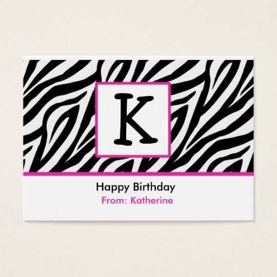 Zebra monogram gift enclosure (#GIFT002) Business Card
