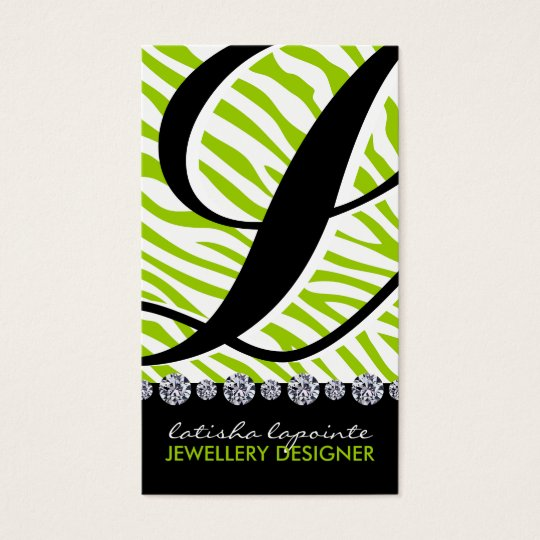 Zebra Monogram Jewellery Designer Business Cards