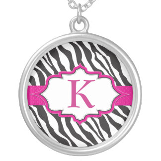 Zebra Monogram Pink Ribbon Necklace