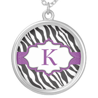 Zebra Monogram Purple Ribbon Necklace