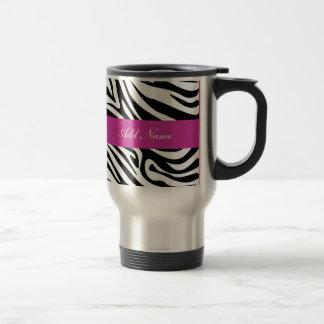 Zebra Monogram Travel Mugs