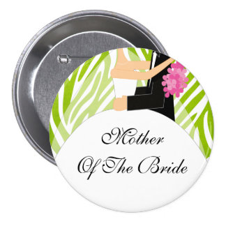Zebra Mother of the Bride Button / Pin Lime Green