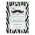 Zebra Moustache Birthday - Black & Lime Green Invitations