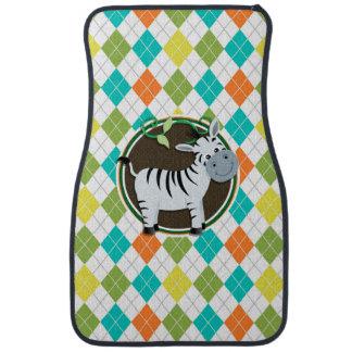 Zebra on Colorful Argyle Pattern Floor Mat