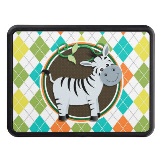 Zebra on Colorful Argyle Pattern Tow Hitch Cover