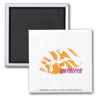 Zebra Orange Square Magnet