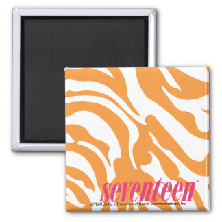Zebra Orange Square Magnet