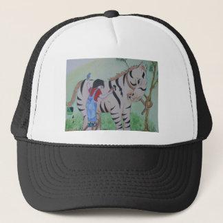 Zebra painting trucker hat