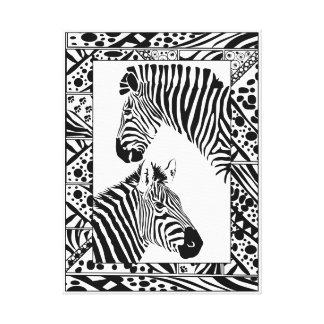 "Zebra pair framed canvas art print 18x24"""