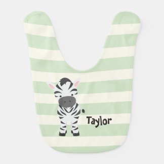 Zebra; Pastel Green Stripes Bib