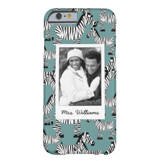 Zebra Pattern | Add Your Photo & Name Barely There iPhone 6 Case