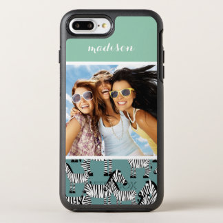 Zebra Pattern | Add Your Photo & Name OtterBox Symmetry iPhone 8 Plus/7 Plus Case