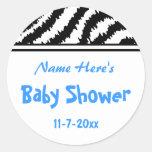 Zebra Pattern Baby Shower. Blue, Black and White. Round Stickers