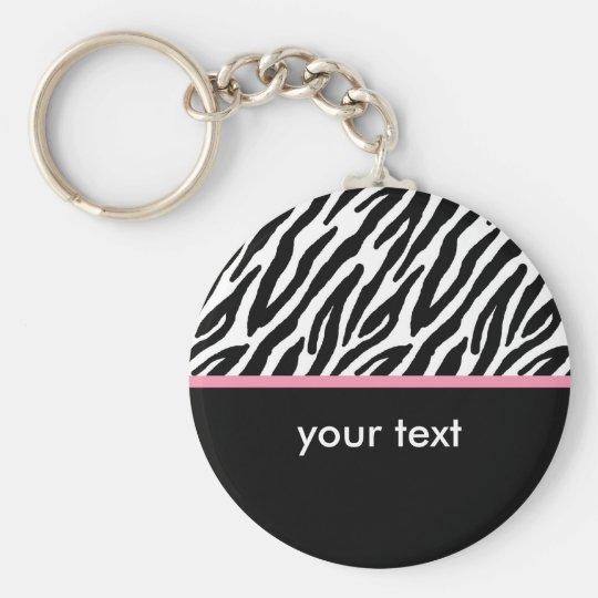 Zebra Pattern Basic Round Button Key Ring