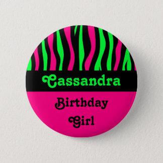 Zebra pattern birthday name 6 cm round badge