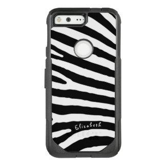 Zebra Pattern, Black & White Stripes, Your Name OtterBox Commuter Google Pixel Case
