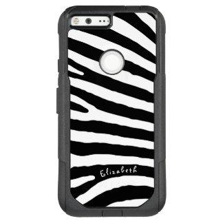 Zebra Pattern, Black & White Stripes, Your Name OtterBox Commuter Google Pixel XL Case