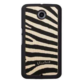 Zebra Pattern, Black & White Stripes, Your Name Wood Phone Case