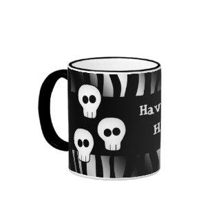 Zebra pattern for Halloween with cute skulls Ringer Mug