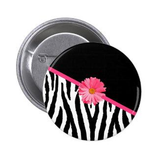 Zebra Pattern Girly Pink Daisy 6 Cm Round Badge