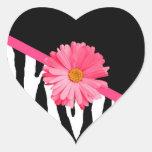 Zebra Pattern Girly Pink Daisy Heart Sticker
