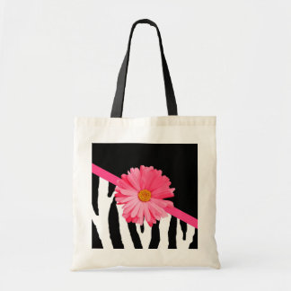Zebra Pattern Girly Pink Daisy Tote Bag