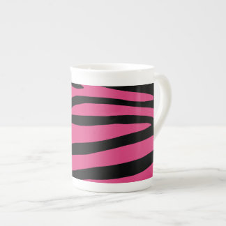 Zebra Pattern in Black and Pink Bone China Mug