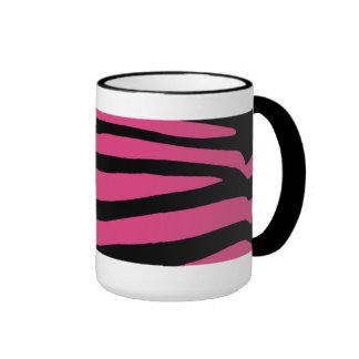 Zebra Pattern in Black and Pink Ringer Mug
