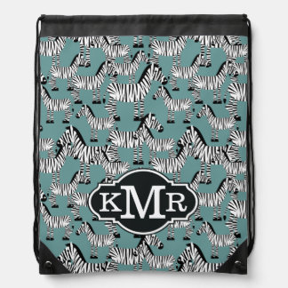 Zebra Pattern | Monogram Drawstring Bag