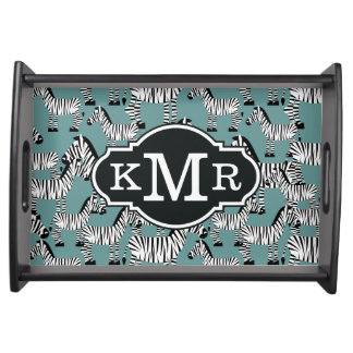 Zebra Pattern | Monogram Serving Tray