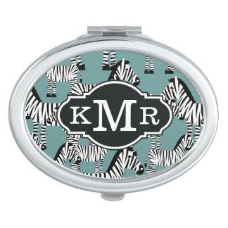 Zebra Pattern   Monogram Travel Mirror